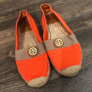 Tory Burch Orange Color Block Espadrille Flats